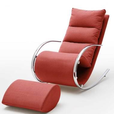 Entspannungssessel in Rot Webstoff Schaukelfunktion (zweiteilig)