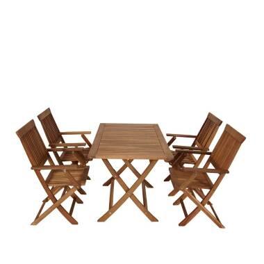 Garten Tischgruppe aus Akazie Massivholz klappbaren Garten Sesseln (fünfteilig)