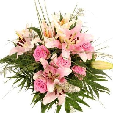 Lilien Strauß Premium Rosa-Lilien-Gedicht plus Zugabe