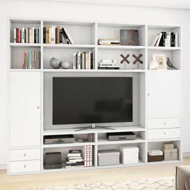 TV Regalwand in Weiß lackiert modern