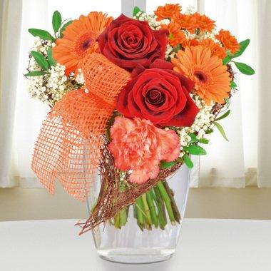 Blumenstrauß Von Herzen Orange-Rot