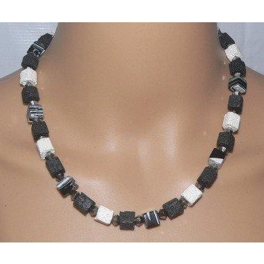 Halskette, Würfelkette, Collier, Necklace, Würfel, Cube, Lava, Malachit