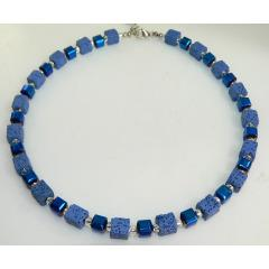 Kette, Halskette, Würfelkette, Cube, Lava, Hämatit, Glänzend, Blau