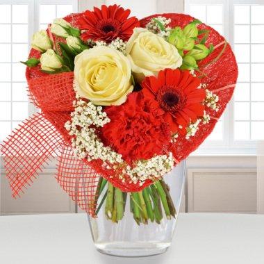 Blumenstrauß Von Herzen Rot-Weiss