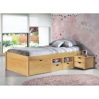 Einzelbett mit Schubladen Kiefer massiv...