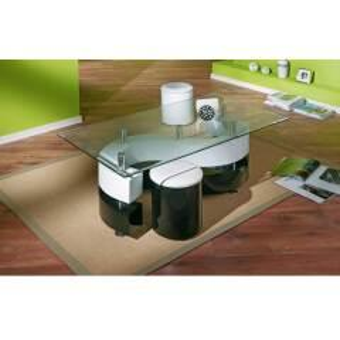 Wohnzimmer Couchtisch in Schwarz-Weiß Hochglanz mit Hockern (dreiteilig)