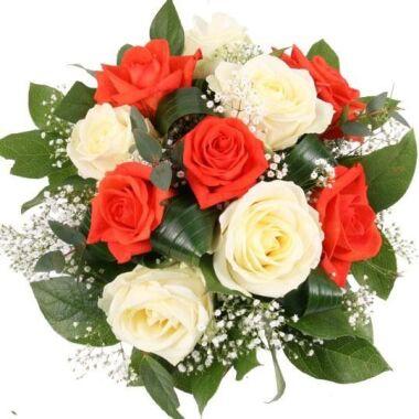 Rosenstrauß Sunny Rosen Orange und Weiß