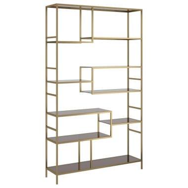 Kare-Design Standregal , Gold, Hellbraun , Glas , 9 Fächer , 115x195x30