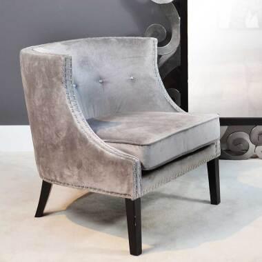 Wohnzimmer Sessel in Hellgrau Samt und Schwarz Vierfußgestell aus Holz