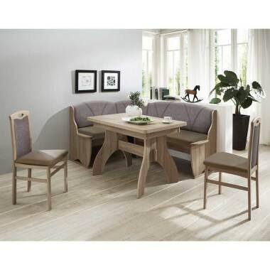 Esszimmer Sitzecke in Braun Grau Eckbank und ausziehbarem Tisch (vierteilig)