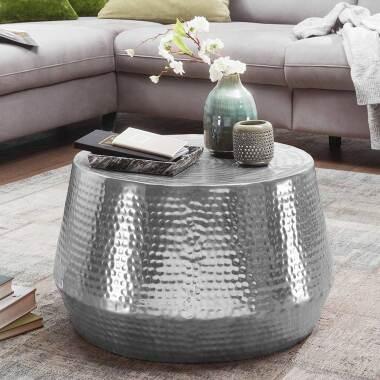 Design Couchtisch aus Aluminium Hammerschlag Optik