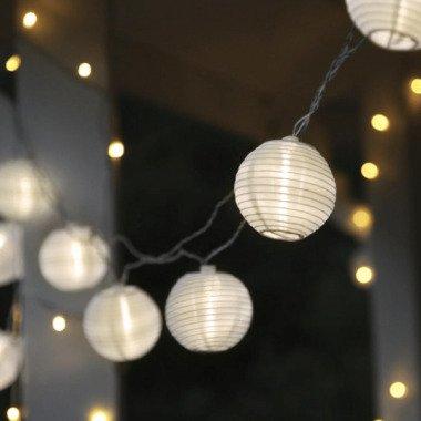 LED Lichterkette LAMPION 10 weiße Lampions mit warmweißen LED 4,5m inkl. T