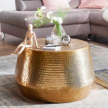 Couch Beistelltisch in Goldfarben 60 cm breit