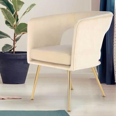 Esstisch Sessel in Creme Weiß Samt Metallgestell in Goldfarben