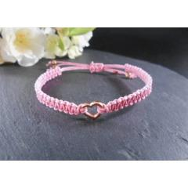 Makramee Herz Armband, Baumwollarmband Herz, Rosa Handmade Armband