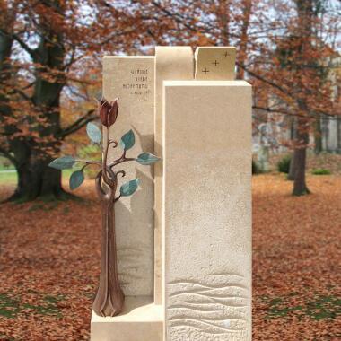 Urnen Grabstein Naturstein Bronze mit...