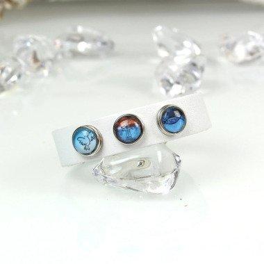 Armband Leder & 3 Clicks Kommunion Glaube Gr. Xs Weiß Blau Mini Petite