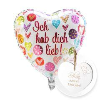 Ballon Ich hab dich lieb! und Vintage-Herz Schön, dass es Dich gibt!