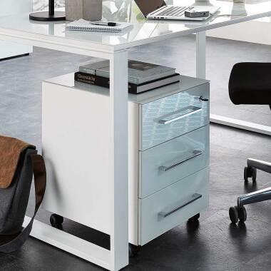 Bürocontainer in Weiß mit Glas beschichtet abschließbar