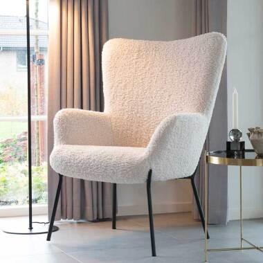 Wohnzimmer Sessel in Weiß Webplüsch