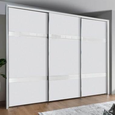 Kleiderschrank in Weiß und Chromfarben Schwebetüren