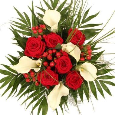 Blumenstrauß Antoniette Premium Calla und Rosen