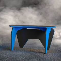 Designtisch in Schwarz und Blau sechseckige Form
