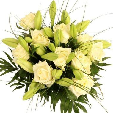 Blumenstrauß White Magic Premium Rosen und Lilien in weißer Pracht