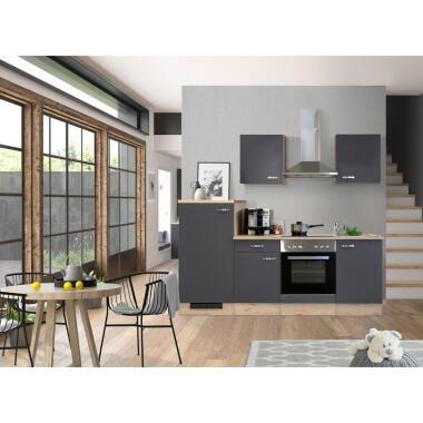 Mid.you Küchenblock , Grau, Eiche , 220 cm , Made in Germany , links aufbaubar