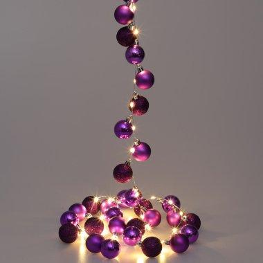 Lichterkette Weihnachten LED Lila 2m Kugeln