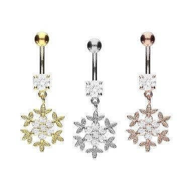 Piercinginspiration Titan Schneeflocke Kristalle Bauchnabel Piercing Barbell