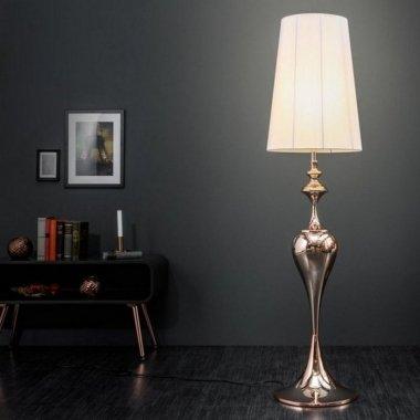 Stehlampe SCARLET Weiß mit Standfuß aus Rosegold glänzendem Metall 160cm