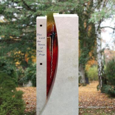 Urnengrab Grabmal mit Regenbogen Glas...