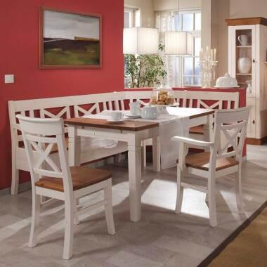 Essecke im Landhausstil Bernsteinfarben Weiß (vierteilig)