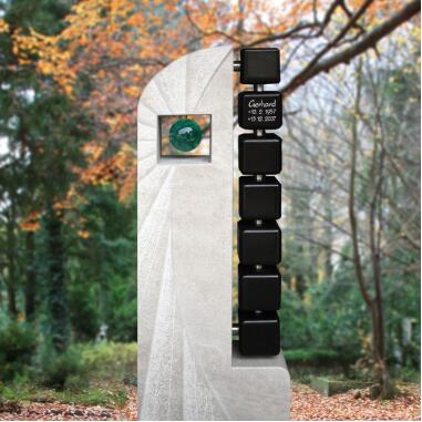 Urnengrabstein modern mit Granit Würfeln...