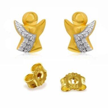 1 Paar Ohrstecker Engel Mit Zirkonias -Echt Gold333(8K-Deutsche Herstellung
