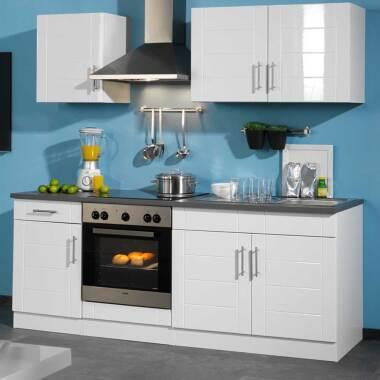Kücheneinrichtung in Hochglanz-Weiß ohne Geräte (sechsteilig)