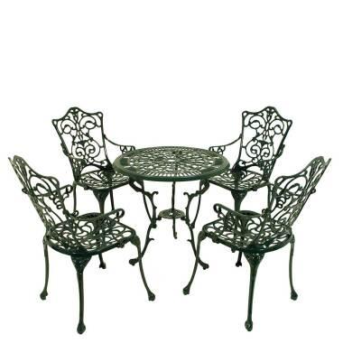 Gartentischgruppe in Dunkelgrün Vintage Design (fünfteilig)