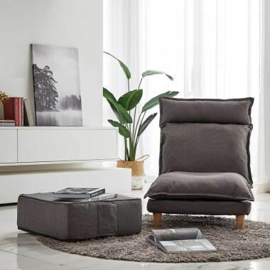 Lounge Entspannungssessel in Grau Fußhocker (zweiteilig)