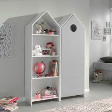 Kinderzimmerschrank mit Regal Weiß und Grau (zweiteilig)
