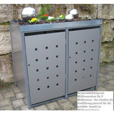 Premium Metall Mülltonnenbox Dunkelgraumetallic ähnl. RAL 9007 für 3 240l Müllto bei zaunanlagen-profi.de