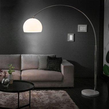 Bogenlampe LUXX Weiß & Marmorfuß Weiß...