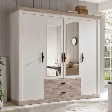 Drehtüren Kleiderschrank in Weiß und Piniefarben Landhausstil