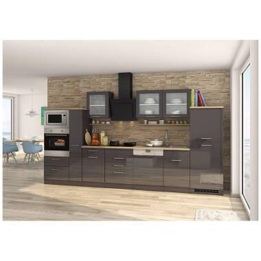 Küchenzeile komplett 370 cm grau mit...