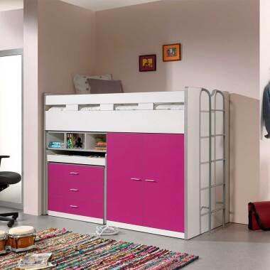 Mädchenbett mit Schreibtisch und Schrank Pink und Weiß