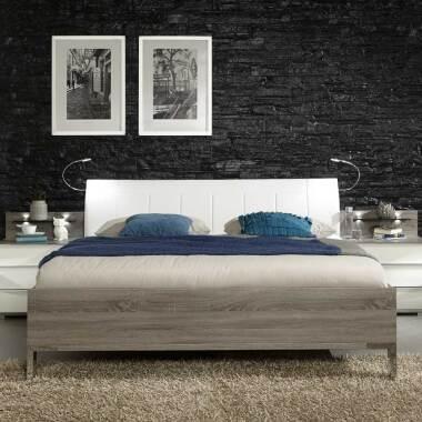 Bett mit Polsterkopfteil in Weiß Beleuchtung...
