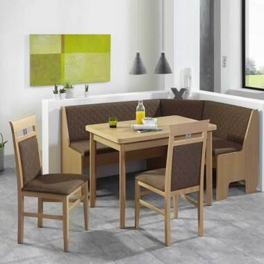 Essecke in Braun Stoff und Buche ausziehbarem Tisch (4-teilig)