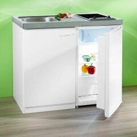 RESPEKTA Miniküche mit Glaskeramik-Kochfeld und Kühlschrank