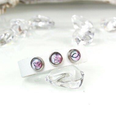 Armband Leder & 3 Clicks Kommunion Glaube Gr. Xs Weiß Rosa Mini Petite