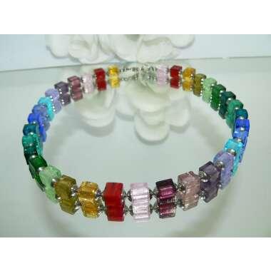 Kette, Halskette, Collier, Würfelkette, Würfel, Cube, Glas Murano Art